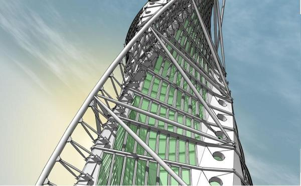 Google Sketchup 9 - Architecture Tower Model