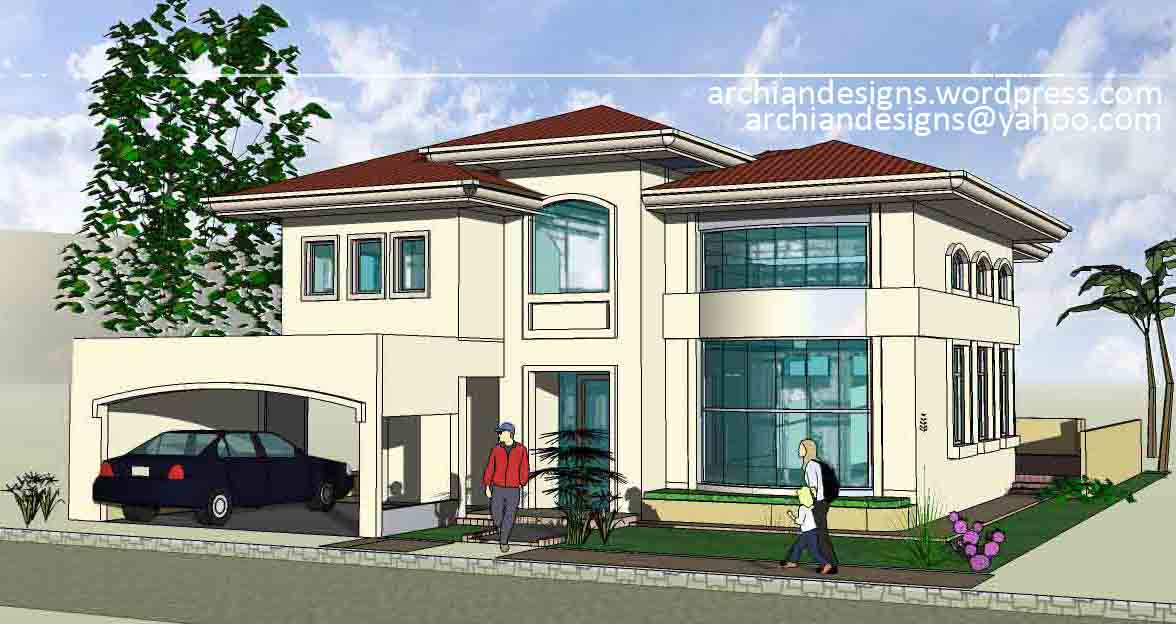 Bacolod house design greensville 2 residence archian for Front view house plans