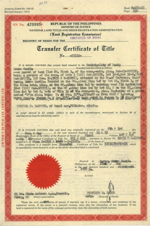 Transfer Certificate Title