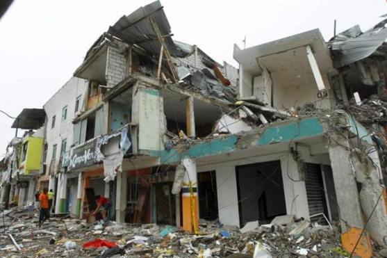 Devastation damage on 2 storey building Earthquake