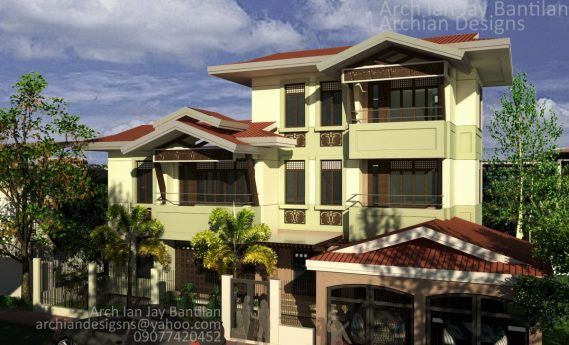 Spanish Filipino Style House in Pavia, Iloilo - 3 Storey 6 Bedroom