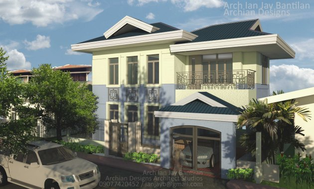 Blue Classical Medditeranean 2 Storey - 3 Bedroom house in Jaro Iloilo